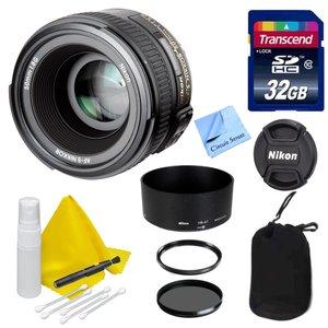 Nikon Lens Kit With Nikon AF-S NIKKOR 50mm f/ 1.8 G Portrait/Video Lens (58mm Thread) + 32 GB Transcend SD Card- for Nikon DSLR Cameras + Ultra Violet & Circular Polarizing Filters