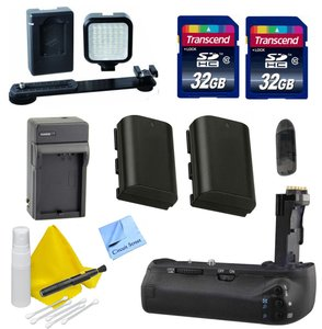 DSLR Accessory Kit for Canon 70D - Includes- 2 LP E6 Batteries for Canon + Battery Grip + 32GB Transcend SD Cards + Rechargeable LED Video Light + Travel Charger
