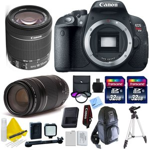 Canon EOS T5i + Canon 75-300mm III + Canon 18-55mm IS STM + 32GB Transcend SD Memory Cards + LED Video Light + Spare LP E8 Battery + DSLR Sling Bag + 1 Year Warranty & More - International Version