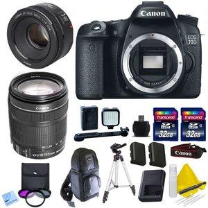 Canon 70D + Canon 18-135mm IS STM + Canon 50mm 1.8 STM + 2 32GB Transcend SD Memory Cards + LED Video Light + Spare LP E6 Battery + DSLR Sling Bag & More - International Version