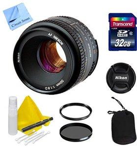 Nikon Lens Kit With Nikon AF NIKKOR 50mm f/1.8 D Portrait/Video Lens (52mm Thread) + 1 Year Warranty + 32GB Transcend SD Card + Ultra Violet & Circular Polarizing Filters - For Nikon DSLR Cameras