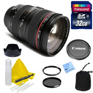 Canon Lens Kit With Canon EF 24-105mm f/4L IS USM Zoom Lens + 32GB Transcend SD Card-77mm Thread for Canon Digital SLR Cameras- Constructed with one Super-UD glass element and three aspherical lenses