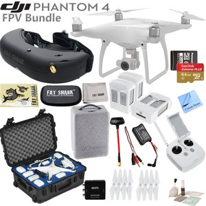 DJI Phantom 4 Quadcopter w/ Professional FPV Bundle: Includes 3 Intelligent Flight Batteries, FATSHARK Attitude V3 FPV Goggles, SanDisk 64GB MicroSD Card Go Professional Case and more...