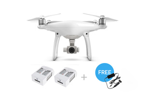 DJI Phantom 4 Quadcopter Kit with Two Extra Batteries and Car Charger