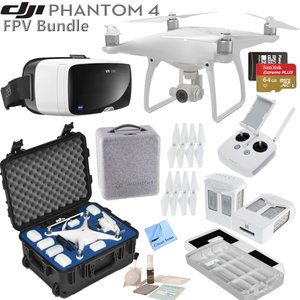 DJI Phantom 4 Quadcopter w/ FPV Bundle: Includes 2 Intelligent Flight Batteries, Zeiss VR One Virtual Reality Headset, SanDisk 64GB MicroSD Card, Go Professional Case and more... (Galaxy S6)
