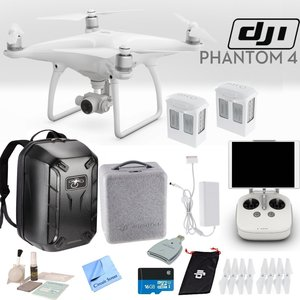 DJI Phantom 4 Quadcopter Backpack Bundle: Includes 2 Phantom 4 Batteries, Soft Padded Backpack, 16GB MicroSD Card and more...