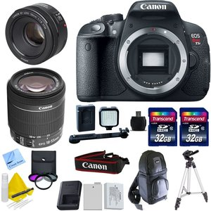 Canon EOS T5i + 18-55mm f/3.5-5.6 STM IS STM + 50mm f/1.8 STM + 2 32GB Transcend SD Memory Cards + LED Video Light + Spare LP E8 Battery + Accessory Bundle - International Version