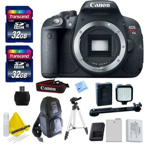 """Canon EOS T5i (Body Only) + 2 32GB Transcend SD Memory Cards + Rechargeable LED Video Light + Spare LP E8 Battery + 50"""" Tripod + DSLR Sling Bag + 1 Year Warranty & More - International Version"""