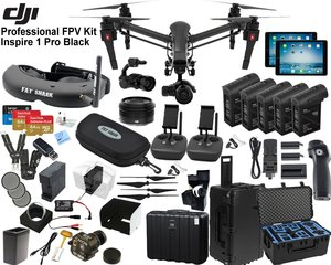 """DJI Inspire 1 Pro Quadcopter Black Edition with FPV """"Eagle Eye"""" Package: Includes 2 Controllers, 2 iPads, FATSHARK Attitude V3 FPV Goggles, Osmo Handle Kit, 4x TB48 Batteries and more..."""