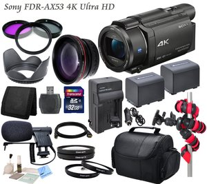 Professional Ultra HD 4K Camcorder Bundle - Sony FDR AX53 Camcorder: Includes Mini Condenser Mic, 2 Sony NP-FV100 Replacement Batteries, Rapid Travel Charger and more...
