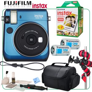 Fuji Instax Mini 70 Instant Film Camera Bundle (Blue) with 20X Picture & CS Pro Kit