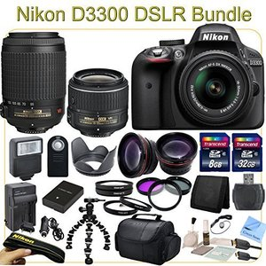 D3300 ADVANCED PACKAGE - Includes 18-55mm VR II + 55-200mm VR Lenses, Wide Angle & Telephoto Lenses, Filters, Macro Lenses and more