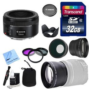 Canon Lens Kit With Canon EF 50mm f/1.8 STM Lens + 32GB Transcend SD Card + Lens Hood + 3 Piece Filter Kit & More(52mm Thread) for Canon DSLR Cameras (Fixed Zoom Portrait / Video Lens)