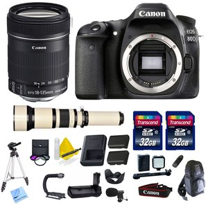 Canon DSLR Kit With Canon EOS 80D + Canon EF-S 18-135mm f/3.5-5.6 IS USM Lens + 650-1300mm Telephoto Zoom Lens