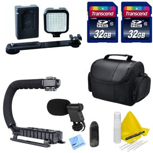 DSLR / Camcorder Video Accessory Kit- Compatible with Any DSLR or Video Camera- Nikon, Canon, Sony, Panasonic - Includes LED Video Light + Scorpion Grip + 2 32GB Transcend SD Memory Cards