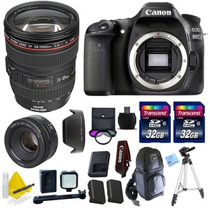 Canon EOS 80D Body Kit + Canon EF 24-105 f/4 L IS USM (Glass Element) Lens + Canon 50mm 1.8 STM Video/ Portrait Lens + 2 32GB Transcend SD Memory Cards + Accessory Bundle - International Version