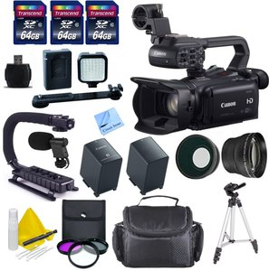 Canon Professional Video Camera + 3 64 GB Transcend SD Cards + Spare Battery + Digital Video Microphone + LED Light Kit + Stabilizing Scorpion Grip & More - International Version