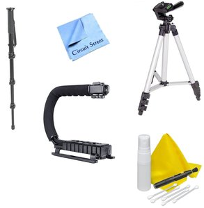 """Video Accessory Kit- Compatible with Any DSLR or Camcorder- Nikon, Canon, Sony, Panasonic – Includes Stabilizing Grip + 50"""" Tripod & 67"""" Monopod"""