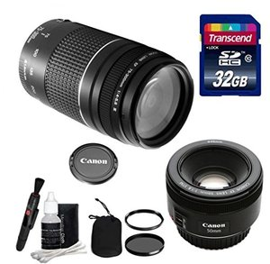 Canon Lens Kit - Canon EF 75-300mm f/4-5.6 III Telephoto Zoom Lens Lens (58 Thread) & Canon EF 50mm f/1.8 STM Fixed Zoom/ Portrait Lens (49mm Thread) + 32 GB Transcend SD Card- for Canon DSLR Cameras