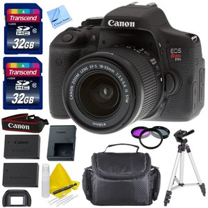 Canon EOS T6i DSLR Camera Kit + 18-55mm f/3.5-5.6 IS STM Standard Zoom Lens + 1 Year Warranty + 2 32GB Transcend SD Cards + Spare LP E17 Battery + Accessory Bundle - International Version