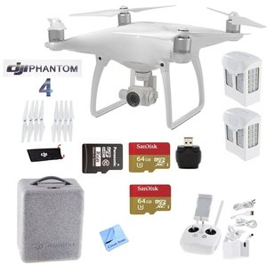DJI Phantom 4 Beginners Kit - Includes 2 Intellegent In Flight Battery + 2 Extended Video 64GB Micro SD Memory Card