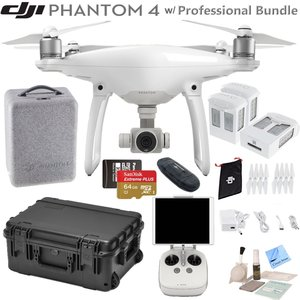 DJI Phantom 4 Quadcopter w/ Professional Bundle: Includes 3 Intelligent Flight Batteries, SanDisk 64GB MicroSD Card Go Professional Case and more...