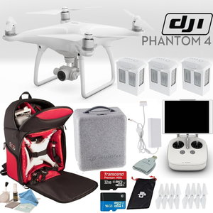 DJI Phantom 4 Quadcopter Backpack Bundle: Includes 3 Phantom 4 Batteries, Soft Padded Backpack, 16GB MicroSD Card and more...