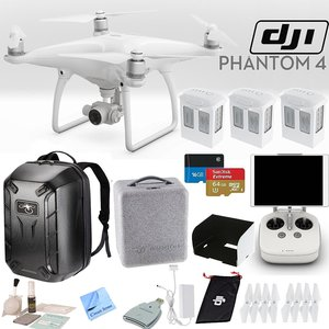DJI Phantom 4 Quadcopter Bundle: Includes 3 Phantom 4 Batteries, Phantom 4 Backpack, Remote Monitor Hood (For Tablets), SanDisk 64GB Extreme MicroSD Card and more...