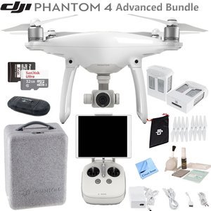 DJI Phantom 4 Quadcopter w/ Advanced Bundle: Includes 2 Intelligent Flight Batteries, SanDisk 32GB MicroSD Card and more...