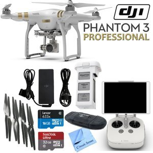 DJI Phantom 3 Professional Quadcopter Drone with 4K UHD Video Camera & CS Kit (17 Items)