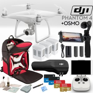DJI Phantom 4 Quadcopter & OSMO Bundle: Includes DJI Osmo, 3 Phantom 4 Batteries, 2 Osmo Batteries, Phantom 4 Shockproof Backpack, 2x SanDisk 64GB Extreme MicroSD Cards and more...