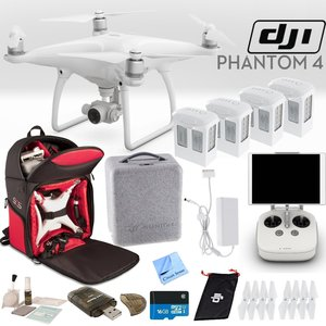 DJI Phantom 4 Quadcopter Backpack Bundle: Includes 4 Phantom 4 Batteries, Soft Padded Backpack, 16GB MicroSD Card and more...