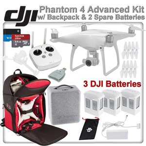 DJI Phantom 4 Quadcopter w/ Backpack Bundle: Includes 3 Intelligent Flight Batteries, Soft Padded Backpack, SanDisk 64GB MicroSD Card and more...