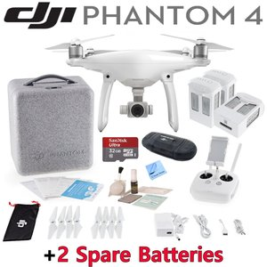DJI Phantom 4 Quadcopter w/ Advanced Bundle: Includes 3 Intelligent Flight Batteries, SanDisk 32GB MicroSD Card and more...