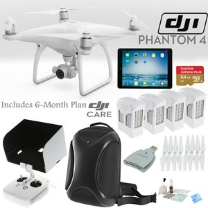 DJI Phantom 4 Quadcopter w/ Everything You Need Bundle: Includes 4 Batteries, DJI Backpack, iPad Mini 4, SanDisk 64GB MicroSD Card, DJI Care 6 Month Plan and more...