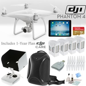 DJI Phantom 4 Quadcopter w/ Everything You Need Bundle: Includes 4 Batteries, DJI Backpack, iPad Mini 4, SanDisk 64GB MicroSD Card, 1 Year DJI Care Plan and more...