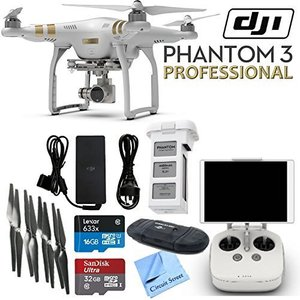 DJI Phantom 3 Professional Quadcopter Drone with 4K UHD Video Camera & CS Kit: Includes Handheld Transmitter (Radio Controller), Sandisk 32GB Ultra MicroSD Memory Card, Lexar 16GB 633x MicroSD Memory Card, SD Card Reader, Intelligent Flight Battery, 2 Sets of Propellers, Smart Battery Charger & CS Microfiber Cleaning Cloth