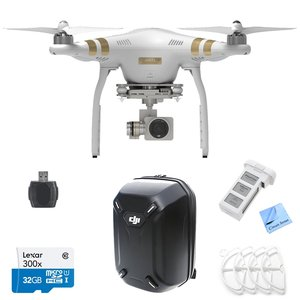 DJI Phantom 3 Professional Quadcopter Drone with 4K UHD Video Camera + Hardshell Backpack + P3 Intelligent Battery + Lexar Micro SDHC 300x 32GB UHS-I/U1 + Prop Guards + Memory Card Reader
