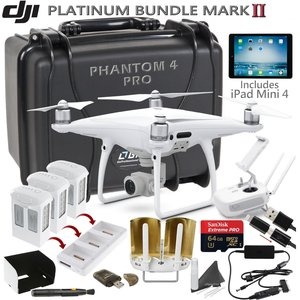DJI Phantom 4 Pro w/ Platinum II Bundle: Includes iPad Mini 4, 3 DJI Phantom 4 Batteries, Go Professional Carrying Case w/ Wheels, SanDisk 64GB Extreme Pro MicroSD Card and more...