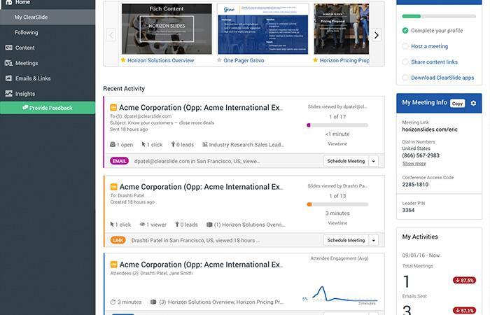 sales engagement dashboard
