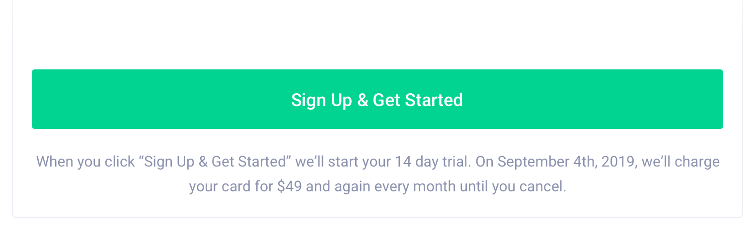 Saas Signup Microcopy Example