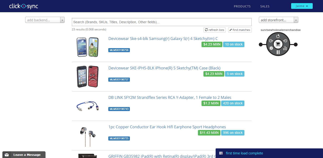 Import products from Sunrise Wholesale Merchandise on