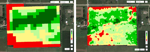 Field health imagery has improved dramatically over the last four years. The image on the left is from 2014, and on the right is 2018. The newer image has significantly more detail.