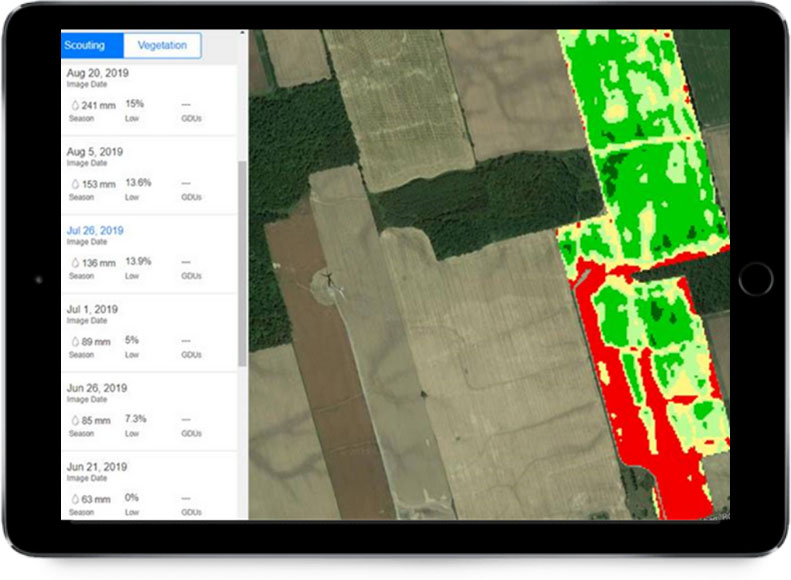 FieldView scouting map showing low vegetation in a large area of the field.