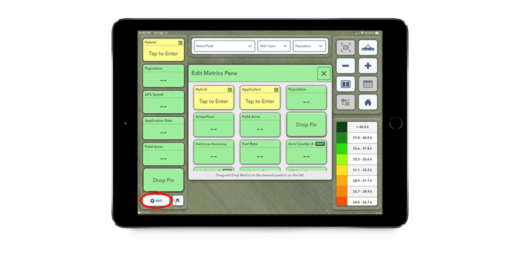 The edit metrics pane in the FieldView Cab app to customize your view