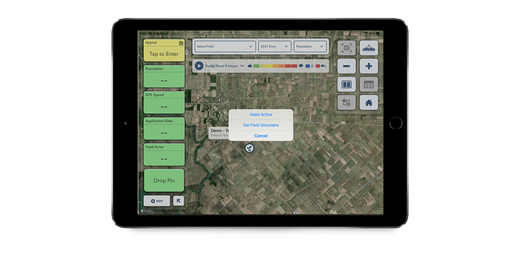 FieldView Cab app with field menu open showing 'Get Field Directions' as an option