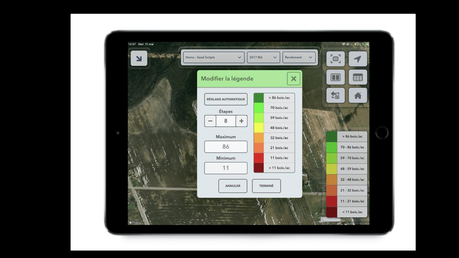 Fenêtre de modification de la légende dans l'application FieldView Cab affichant la fonction de réglage automatique.
