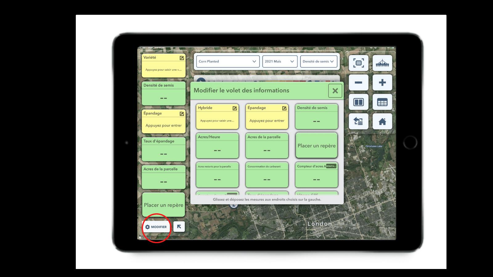 La fonction Modifier le volet des informations dans l'application FieldView Cab permet de personnaliser votre affichage.