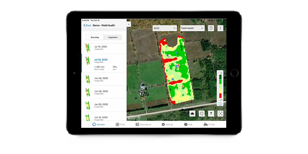 Image generated in iPad showing the Scouting map layer, with red, green and yellow areas to illustrate variability.