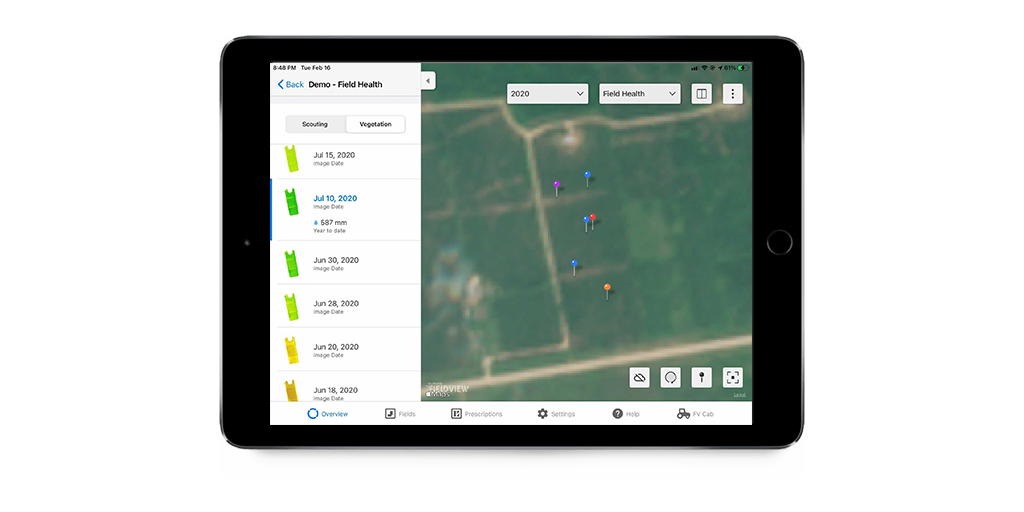 Image showing a True Colour Map on an ipad, which is a real satellite image of a field.
